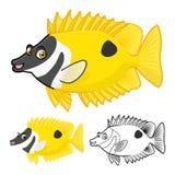 Wysokiej Jakości Rabbitfish postać z kreskówki Zawiera Płaskiego projekt i Kreskowej sztuki wersję Fotografia Stock