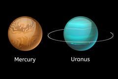 Wysokiej jakości rtęci galaxy astronomii Uranus planety nauki kuli ziemskiej kosmosy grają główna rolę wektorową ilustrację Zdjęcie Stock