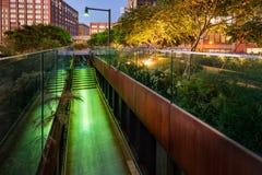 Wysokiej linii deptak przy zmierzchem, Zachodnia wioska, Manhattan, Nowy Jork Obraz Royalty Free