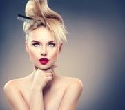 Wysokiej mody modela dziewczyny portret Fotografia Royalty Free