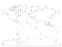 Wysokość wyszczególniał kontur światowa mapa z Antarctica Prosty cienki czarny wektorowy uderzenie na białym tle royalty ilustracja