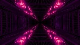 Wysoko jarzyć się odbijającej abstact galaxy przestrzeni tła 3d tunelowego rendering royalty ilustracja
