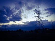 Wysokonapięciowy elektryczność słup Zdjęcie Royalty Free