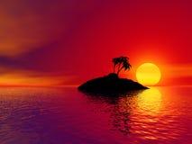 wyspę słońca nad tropikalnym Obrazy Royalty Free