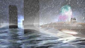 Wyspa i wysyła fala, zmroku ulewny deszcz i chmury i zdjęcie wideo