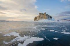 Wyspa icebound Jeziorny Baikal zdjęcia royalty free