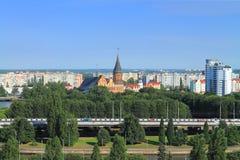 Wyspa Kneiphof w Kaliningrad, piękny miasto krajobraz w pogodnym letnim dniu Zdjęcie Stock