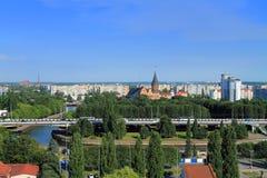 Wyspa Kneiphof w Kaliningrad, piękny miasto krajobraz w pogodnym letnim dniu Zdjęcie Royalty Free