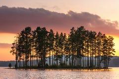 Wyspa po środku jeziora Obrazy Royalty Free