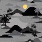 Wyspa w nocy sylwetce drzewko palmowe, plaża, góra na mo ilustracji