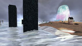 Wyspa z ciemnymi budynkami i fala chmurnego nieba i wściekać się zdjęcie wideo