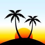 Wyspa z drzewkami palmowymi Obrazy Stock
