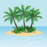 Wyspa z drzewkami palmowymi, skałami i kamieniami, ilustracji