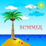 Wyspa z drzewkiem palmowym, morze, lato Obraz Stock