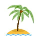 Wyspa z drzewko palmowe wektoru ilustracją Obrazy Stock