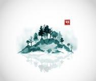 Wyspa z lasowymi drzewami w mgle Tradycyjny orientalny atramentu obrazu sumi-e, grzech, Hua Hieroglif - zen Obraz Stock