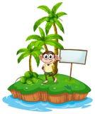Wyspa z małpą i signboard Obrazy Royalty Free