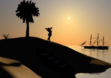 Wyspa zmierzchu cienie Fotografia Stock