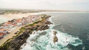 Wyspy Baleal naer Peniche na brzeg ocean w zachodnim wybrzeżu Portugalia Zdjęcia Stock