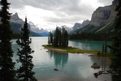 wyspy maligne jeziora ducha Zdjęcia Royalty Free
