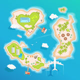 Wyspy nakrywają widok z lotu ptaka - podróżuje turystyka wektoru ilustrację ilustracja wektor