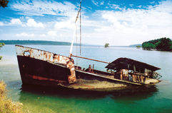 Wyspy Shipwreck Obrazy Royalty Free