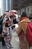 Występ sztuka, Krwionośny pieniądze, korupcja rządu, Globalna waluta, Światowy pieniądze, Marzec dla Nasz żyć, protest, NYC, NY,  Obraz Royalty Free