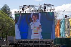 Występ tana zespół przy Międzynarodowym rytmicznej gimnastyki sceny Tradycyjnym ludowym tanem taniec etniczny Rosja obraz royalty free