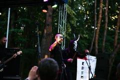 Występ rockowa grupa Chumatsky Shlyakh Czerwiec 10, 2017 w Cherkassy, Ukraina fotografia stock