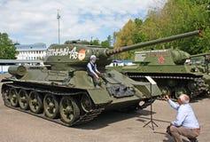 Wystawa militarni retro pojazdy Zdjęcia Stock