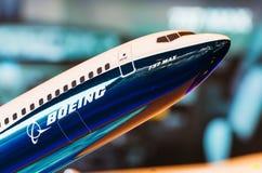 Wystawa modeluje Boeing samolot 737 max Rosja, Moskwa Lipiec 2017 zdjęcie stock