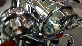 Wystawa motocykle, Stary rocznika chromu motocyklu reflektor zbiory