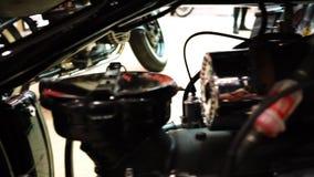 Wystawa motocykle, Stary rocznika motocyklu zbliżenie zdjęcie wideo