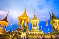 Wystawa na królewskiej kremaci ceremonii, Sanam Luang ceremoniału ziemia, Bangkok, Tajlandia na November7,2017: Królewski Cremato fotografia royalty free