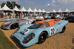 Wystawa starzy Porsche bieżni samochody Obrazy Stock