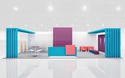 Wystawa stojak w purpurach i cyraneczce barwi 3d rendering fotografia royalty free
