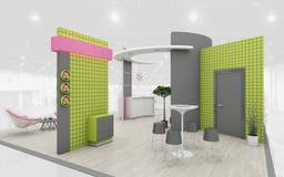 Wystawa stojak w zieleni i menchiach barwi 3d rendering fotografia royalty free