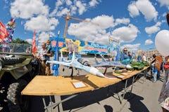 Wystawa zawdzięczający sobie modele samolot wojskowy Zdjęcia Royalty Free