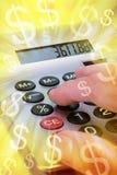 wystawia rachunek kalkulatora pieniądze Fotografia Stock
