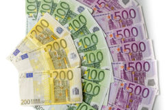 wystawia rachunek różnego euro dużo Obrazy Stock