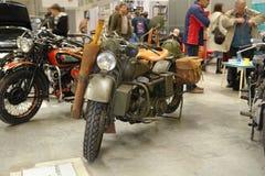 Wystawy kopia stary militarny motocykl wielka Patriotyczna wojna obraz stock