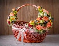 Wystrój dla świętować wielkanoc tła koszykowy Easter astronautyczny tekst Fotografia Stock