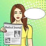 Wystrzał sztuki błękita tło Młoda dziewczyna pokazuje rozciąganie gazetę z wiadomością Dziennikarstwo, medyczny czasopismo Wektor royalty ilustracja