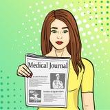 Wystrzał sztuki błękita tło Młoda dziewczyna pokazuje rozciąganie gazetę z wiadomością Dziennikarstwo, medyczny czasopismo Raster royalty ilustracja