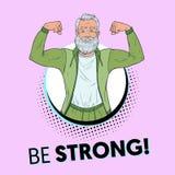 Wystrzał sztuki Dojrzały Starszy mężczyzna Pokazuje mięśnie Szczęśliwy Silny dziad Zdrowy stylu życia plakat ilustracja wektor