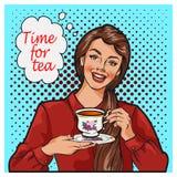Wystrzał sztuki ilustracja kobieta z ranek filiżanką herbata Szpilki dziewczyny mowy bąbel Fotografia Stock