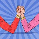 Wystrzał sztuki kobieta Wręcza Armwrestling Kobiety rywalizacja, rywalizacja, konflikt ilustracji