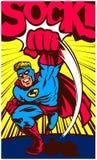 Wystrzał sztuki komiksu bohater uderza pięścią wektorową ilustrację i walczy royalty ilustracja