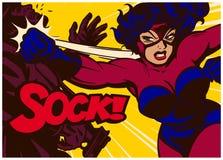 Wystrzał sztuki komiksu panel z super bobaterka bojem i miotanie uderzamy pięścią wektorową ilustrację Zdjęcie Stock