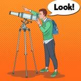 Wystrzał sztuki młody człowiek Patrzeje Przez teleskopu na niebie Astronomiczny wyposażenie royalty ilustracja
